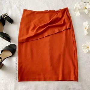 CAbi Burnt Orange Draped Front Skirt